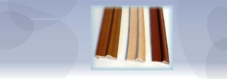 Banner photo of a brown white and red welting material with a light blue background