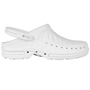 photo of white plastic croc shoes